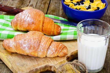 Tasty Sweet Croissant with Milk Studio Photo