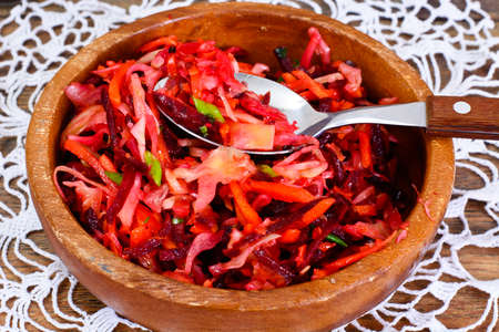 Salad with Beets, Carrots, Cabbage and Celery Studio Photo
