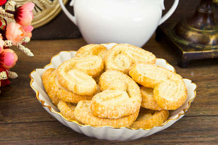 Sugar Puff Cookies on Plate. Studio Photo Stock Photo