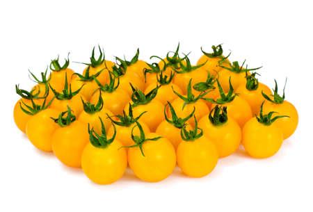 Fresh Yellow Cherry Tomato on Whyite Background Studio Photo Stock Photo