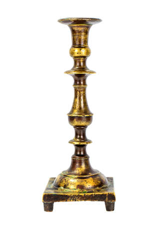 Old Metal Brass Candlestick Isolate on White Background Stock Photo