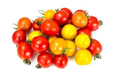 Red and Yellow Fresh Cherry Tomato on White Background Studio Photo