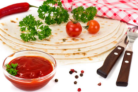 armenian: Armenian Lavash with Tomato Adzhika Studio Photo