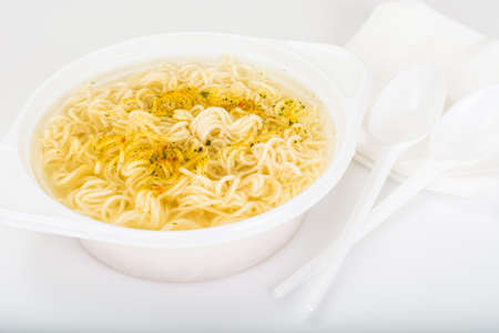 Chicken Soup with Noodles in Plastic Disposable Tableware Studio Photo Stock Photo