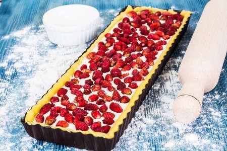 Tart with Strawberries and Curd Cream Studio Photo