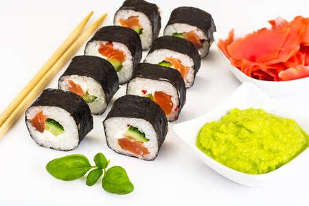 Sushi Florida and California Isolated on White Background. Studio Photo Stock Photo