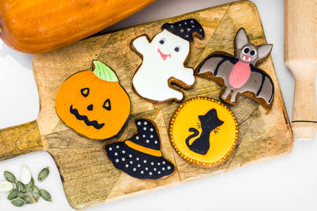 Gingerbread for Halloween. Funny Holiday Food for Children.Studio Photo Stock Photo
