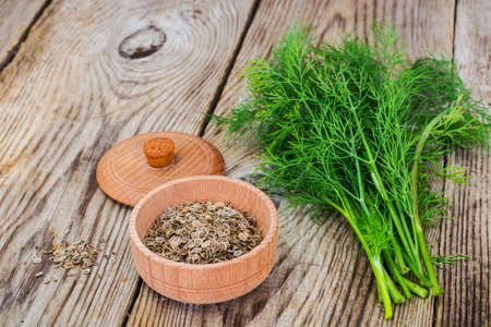 Fresh Juicy Dill on Wooden Rustic Background Studio Photo