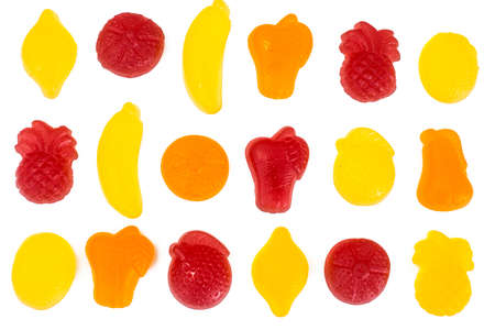 Gelatine Candy in the Form of Fruit on White Stock Photo