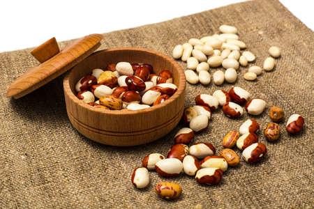 lima bean: Dried White Beans Isolated on White. Studio Photo Stock Photo
