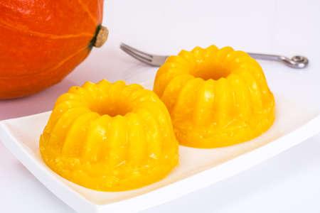 gelatina: Gentle delicious sweet pumpkin jelly. Studio Photo