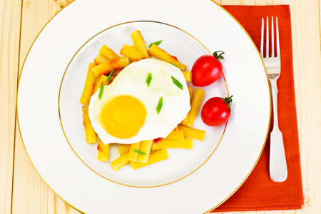 Pasta Penne with Egg Studio Photo Stock Photo