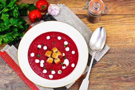 gazpacho: Beetroot Puree Soup with Sour Cream Studio Photo