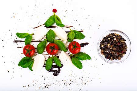 Festive christmas appetizer caprese salad shaped christmas tree