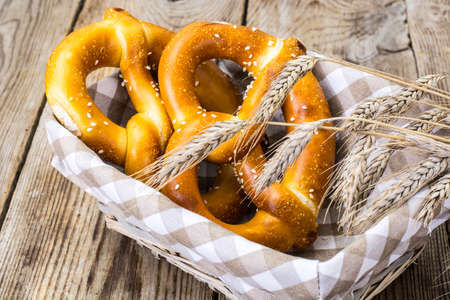 Breadbasket with traditional homemade Bavarian pretzels. Studio Photo