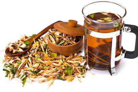 Wonderful Thai herbal tea with Pandan and Lemongrass. Studio Photo
