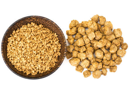 Textured vegetable protein, soy meat for a vegetarian diet. Studio Photo Stock Photo