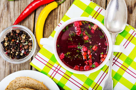gazpacho: Vegetable soup with beets and croutons. Studio Photo