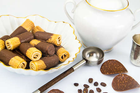 Delicious Cookies with Chocolate on Plate. Studio Photo Stock Photo