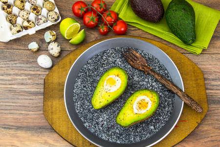 bacon love: Avocados, Baked with Quail Egg, Salt, Pepper Lemon Studio Photo