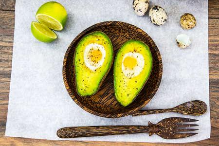 Avocados, Baked with Quail Egg, Salt, Pepper Lemon Studio Photo
