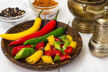 Colorful mix of the freshest and hottest chili peppers Stock Photo