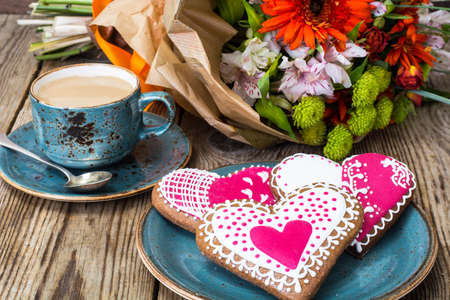 Gingerbread Heart with icing to Valentine day Stockfoto