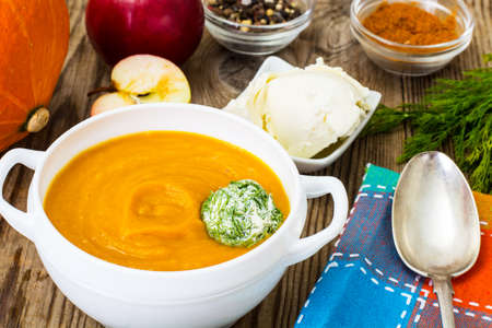 puree: Pumpkin and apple puree with cream cheese Stock Photo