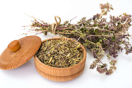 Dried and crushed thyme spice in cooking