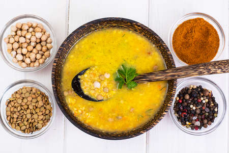 Vegetarian food is without meat: soup with chickpeas Stock Photo