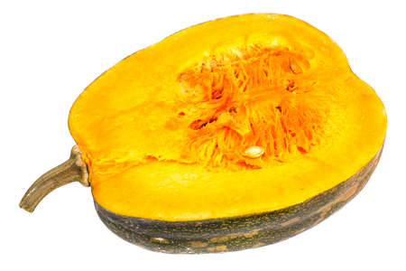 Butternut squash with seeds, cut in half on a white background