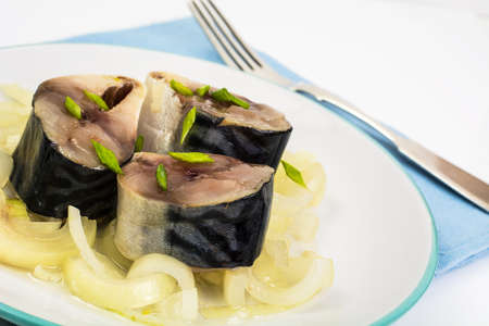 marinade: Mackerel salted with onions in olive oil Stock Photo