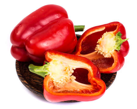 bell peper: Red bell pepper in cut with seeds Stock Photo
