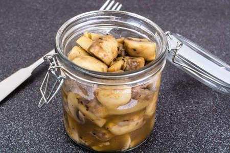 marinated: Slices of marinated mushrooms