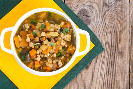 Vegetable soup with lentils