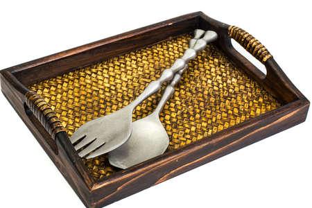 grunge cutlery: Metal cutlery souvenir on White