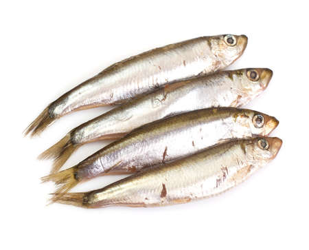 Marinated anchovies isolate on a white background