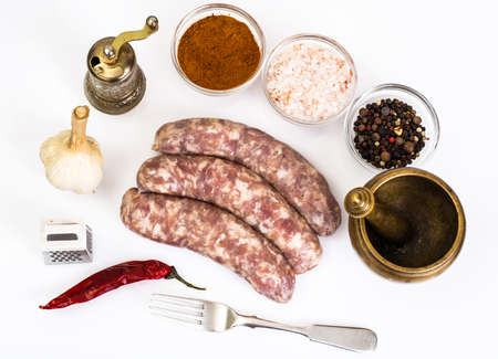 Crude homemade sausage with spices