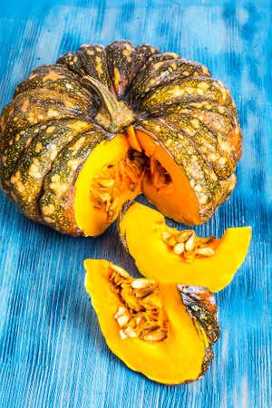 Thai pumpkin whole and cut