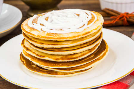 Pancake with sour cream Stock Photo