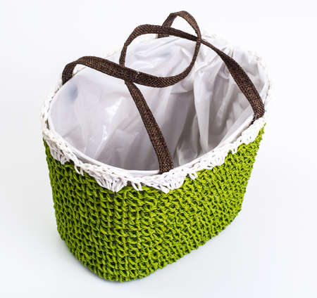 needle laces: Green knitted decorative basket of flowers