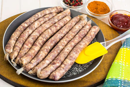 veal sausage: Sausage in natural cover for the grill Stock Photo