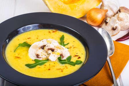 Vegetable soup puree with mushrooms. Studio Photo Stock Photo