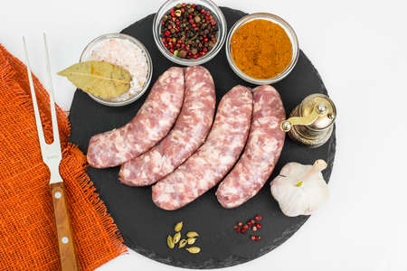 guts: Raw homemade sausage with spices