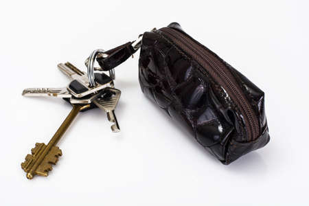 lock symbol: Keychain with leather case. Studio Photo