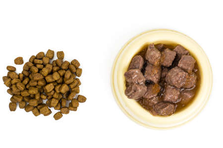 Dog food and cats Reklamní fotografie - 75947801