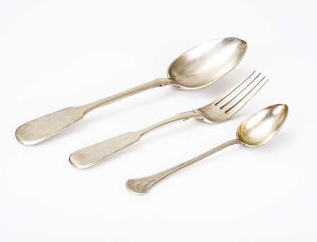 Old silver cutlery Stock Photo