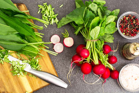 Spring greens radishes and wild garlic, sliced for vegetarian sa Stock Photo