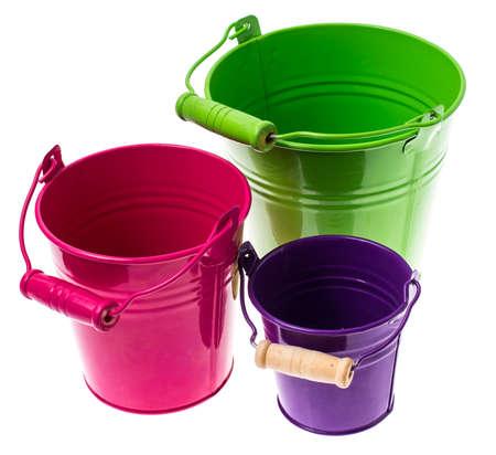tin bucket colored decorative metal buckets studio photo