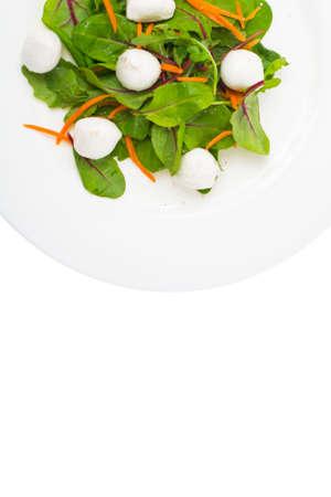 Dietary food salad with fresh herbs with mozzarella. Studio Photo Stock Photo